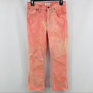 Madewell Pink & Cream Cali Demi-Boot Crop Pants